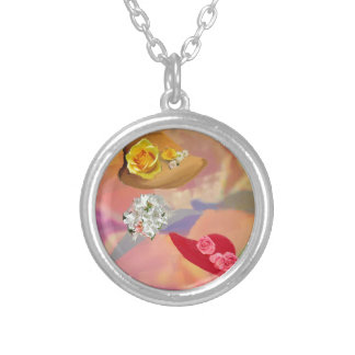 Three hats with flowers silver plated necklace