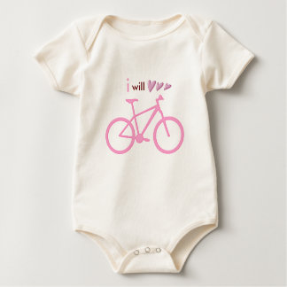 Three hearts and pink mountain bike baby bodysuit