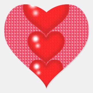 Three Hearts (valentine's Day) Heart Sticker