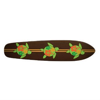Three Honu & Hawaiian Hibiscus Skateboard