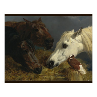 Three Horses Eating by John Frederick Herring Poster