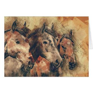 Three Horses Get Well Soon Greeting Card