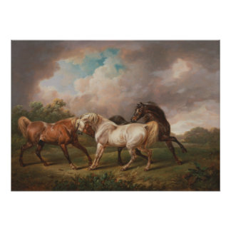 Three Horses in a Stormy Landscape Poster