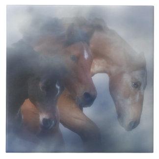 Three Horses in the Mist Art Tile