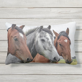 Three Horses Lumbar Pillow