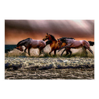 Three Horses Trotting in the Ocean Poster