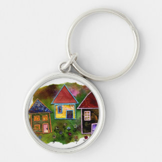 Three House Collage with Flowers Keychain