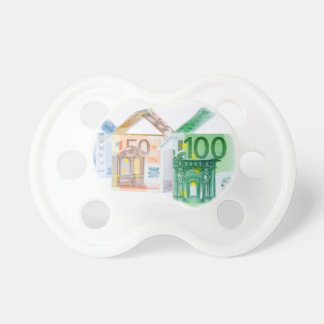 Three houses made of bank notes baby pacifier