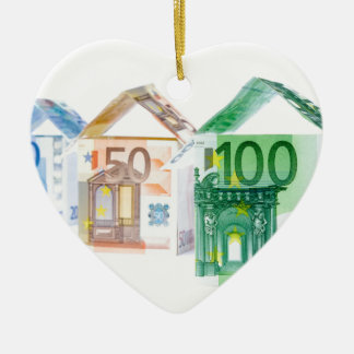 Three houses made of bank notes ceramic heart ornament