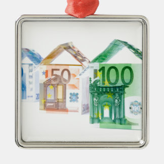 Three houses made of bank notes Silver-Colored square ornament