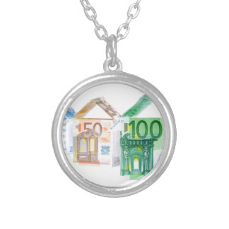 Three houses made of bank notes silver plated necklace