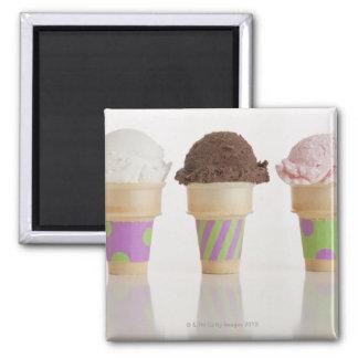 Three ice cream cones square magnet