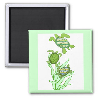 Three in a row sea turtle magnet