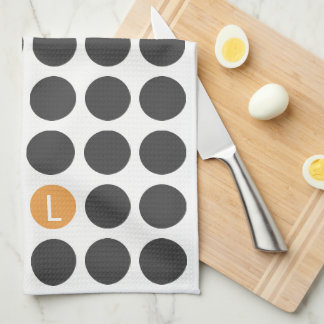Three Initial Dotted Kitchen Towel