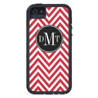 Three Initials Monogram Red Chevron Pattern iPhone 5 Case