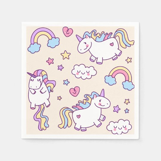 Three Kawaii chubby flying unicorns and rainbow Paper Napkin