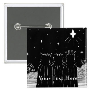 Three kings and Christmas star black and white art 2 Inch Square Button