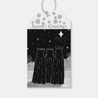Three kings and Christmas star black and white art Gift Tags