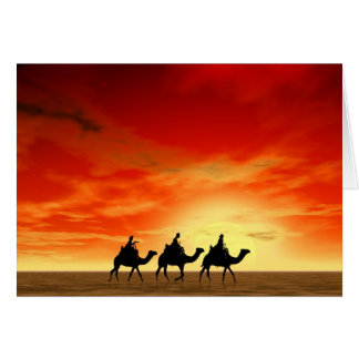 Three Kings and red sunset Card