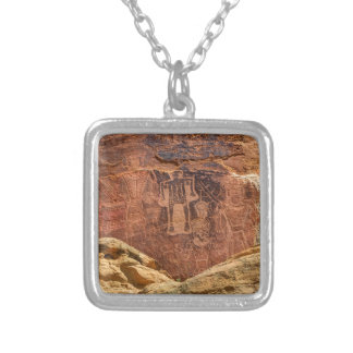Three Kings Petroglyph - Mcconkie Ranch - Utah Silver Plated Necklace