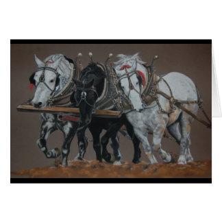 Three Kings-Plow Horses greeting Card