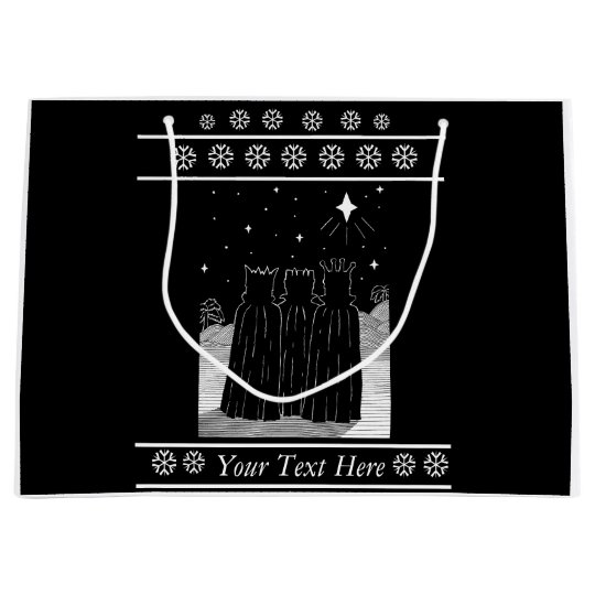 Three kings star black and white christmas design large gift bag