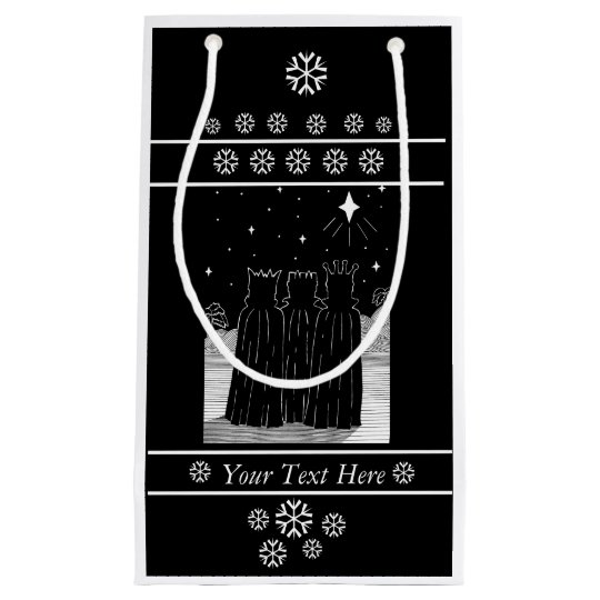 Three kings star black and white christmas design small gift bag