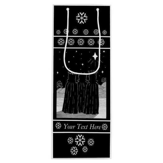 Three kings star black and white christmas design wine gift bag