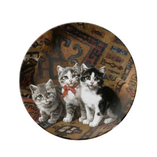 Three Kittens Decorative Porcelain Plate