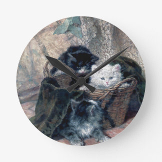 Three Kittens in a Basket Antique painting Round Clock