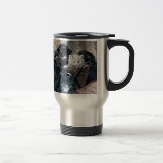 Three Kittens in a Basket Antique painting Travel Mug