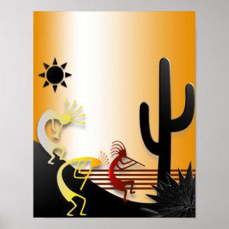 Three Kokopellis and a Cactus Poster