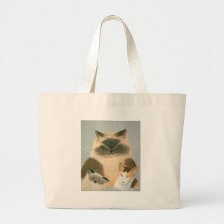 Three Kool Kats Large Tote Bag
