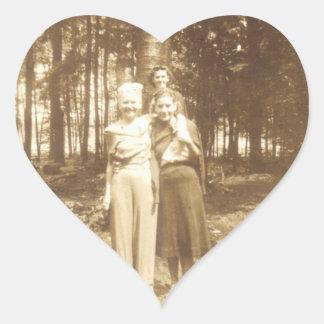Three Ladies Heart Sticker