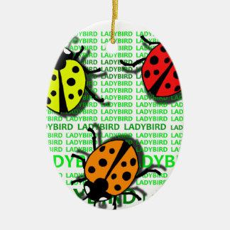Three Ladybirds Ceramic Oval Ornament