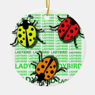 Three Ladybirds Round Ceramic Ornament