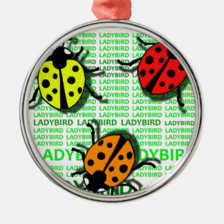 Three Ladybirds Silver-Colored Round Ornament