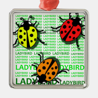 Three Ladybirds Silver-Colored Square Ornament