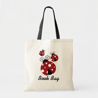 Three ladybug Book Bag.red and black bugs Tote Bag