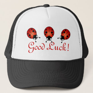 Three Ladybugs Red Orange Black Good Luck Trucker Hat