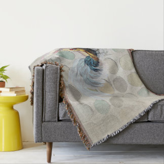 Three Layer Rooster Circle Blue Brown template Throw Blanket