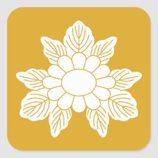 Three leaf asters square sticker