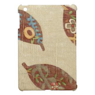 Three Leaves on Linen Texture Background iPad Mini Cases