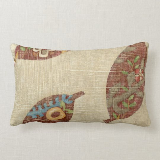 Three Leaves on Linen Texture Background Lumbar Pillow