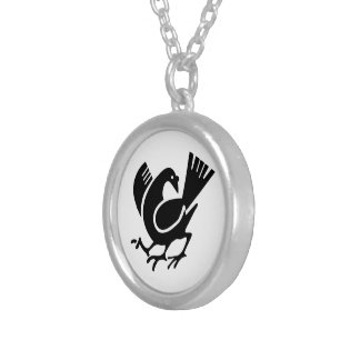 Three Legged Crow Silver Plated Necklace