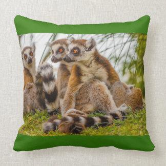 three lemurs on   Cotton Throw Pillow, Throw Pillow