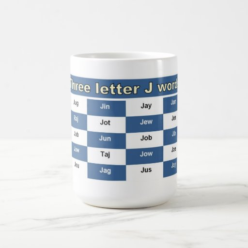 Three letter J words for crosswords or word games Coffee Mug
