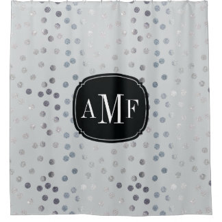 Three Letter Monogram Silver Glitter Dots on Gray
