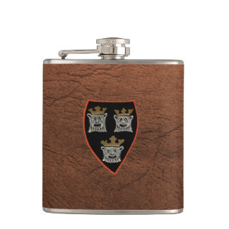 Three Lions - hip flask leather