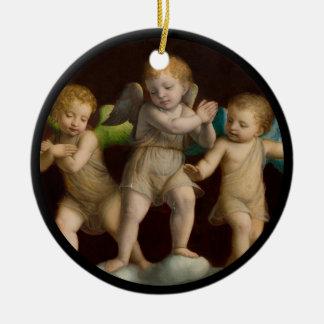 Three Little Cherubs or Angels Ceramic Ornament